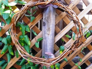 A vine wreath that is not yet decorated