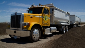 A truck delivers bulk soil within three days, anywhere in California.