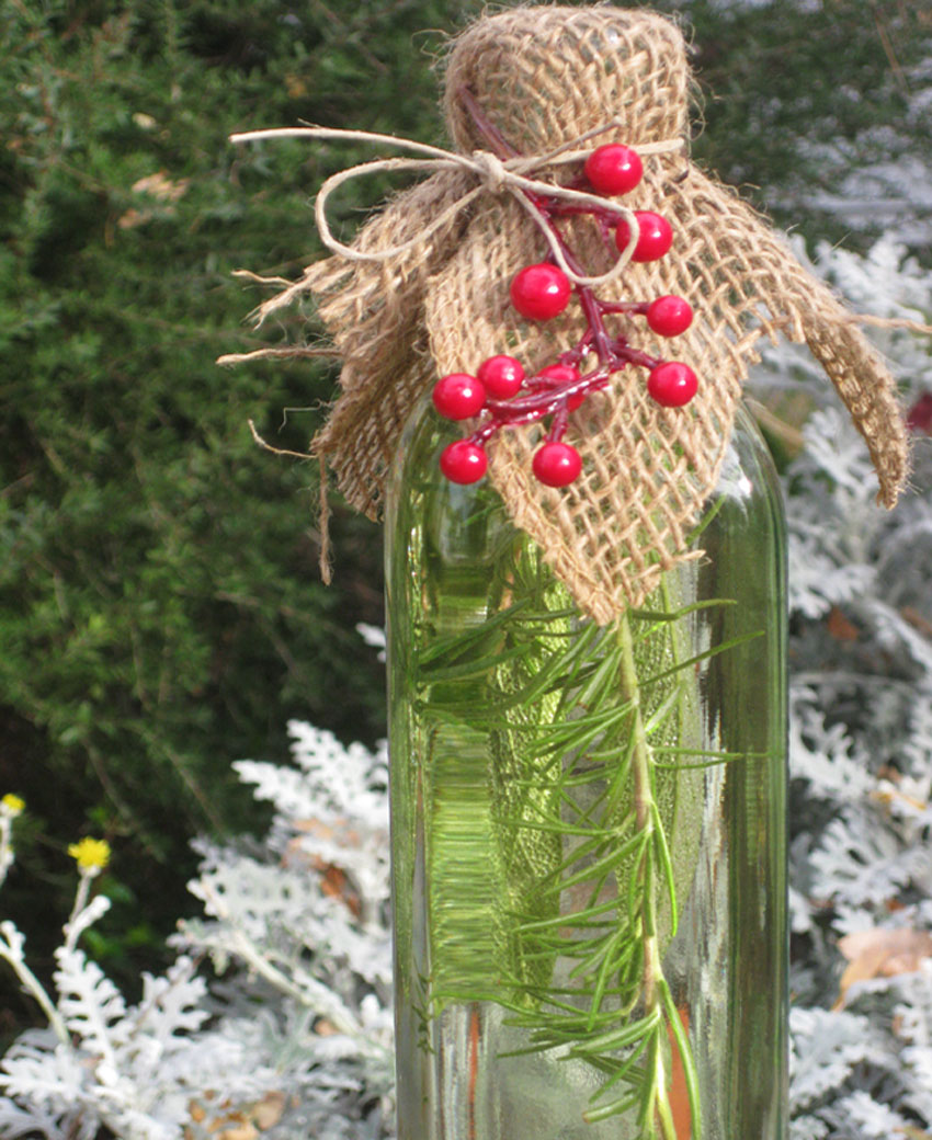 Herbal vinegars are great homemade holiday gifts.