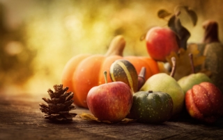 Pumpkins and autumn fruit for halloween and after.