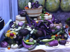 Eggplants squash and other foods from warm weather veggie gardens